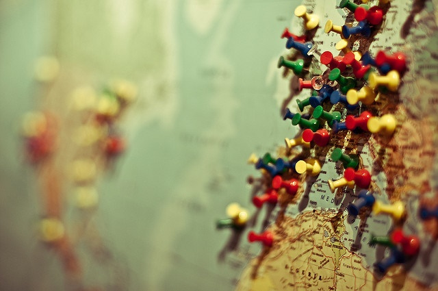 Map with pins in to highlight countries