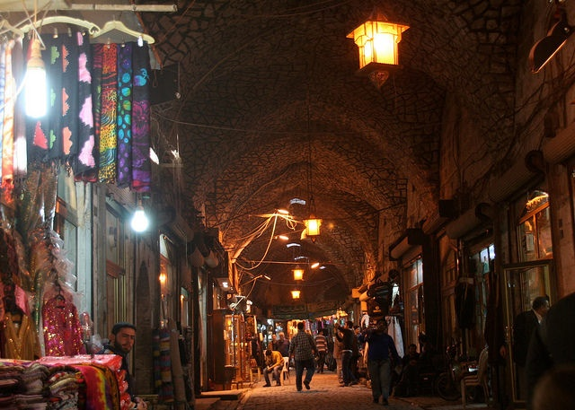 Aleppo souk at night